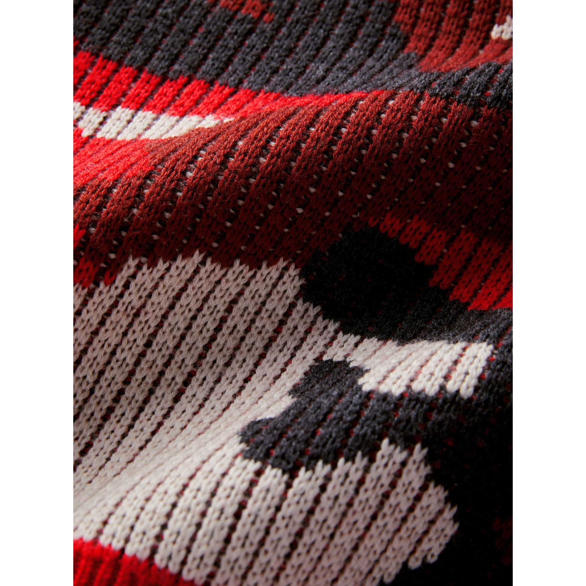 Camouflage Merino Wool Jacquard Sweater in Bright Red | Burberry - gallery image 1