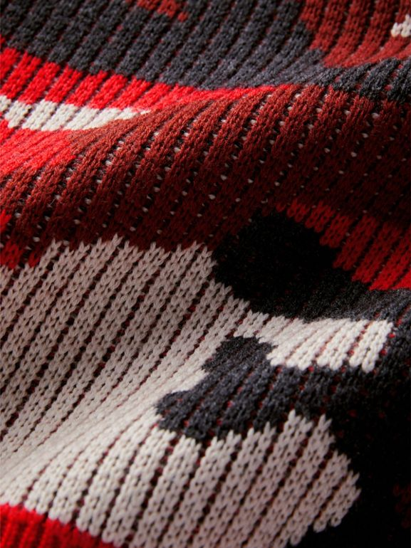 Camouflage Merino Wool Jacquard Sweater in Bright Red | Burberry United States - cell image 1