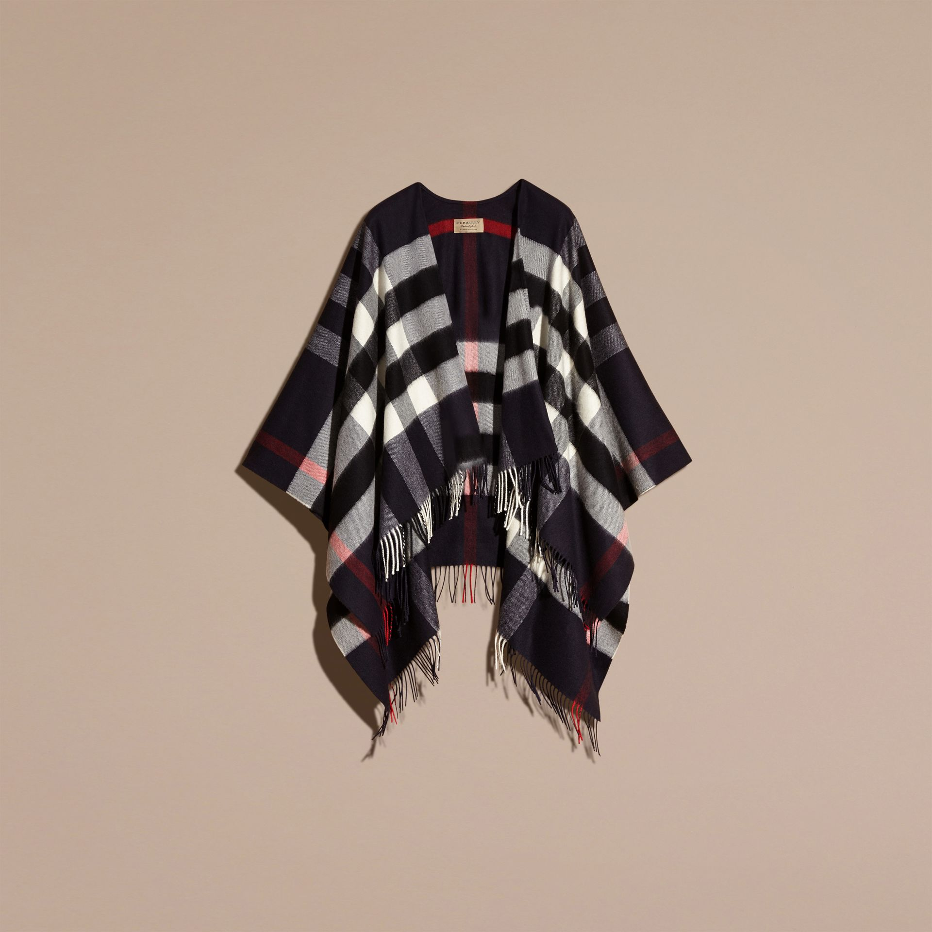 Navy Check Cashmere and Wool Poncho Navy - gallery image 4