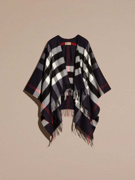 Navy Check Cashmere and Wool Poncho Navy - cell image 3