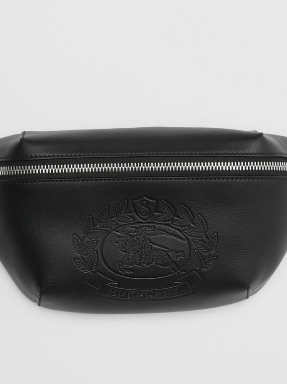 Medium Embossed Crest Leather Bum Bag in Black | Burberry - cell image 1