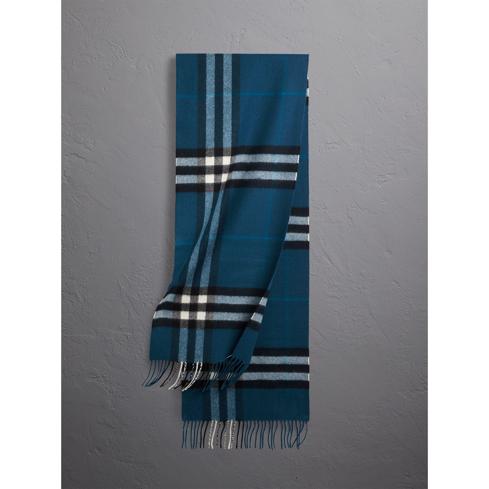 The Classic Check Cashmere Scarf in Marine Blue | Burberry - gallery image 1