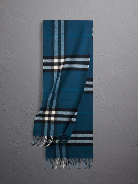 The Classic Check Cashmere Scarf in Marine Blue