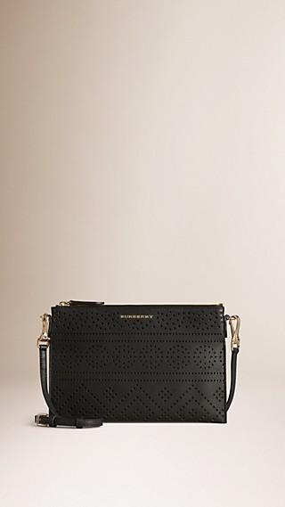 Laser-cut Lace Leather Clutch Bag