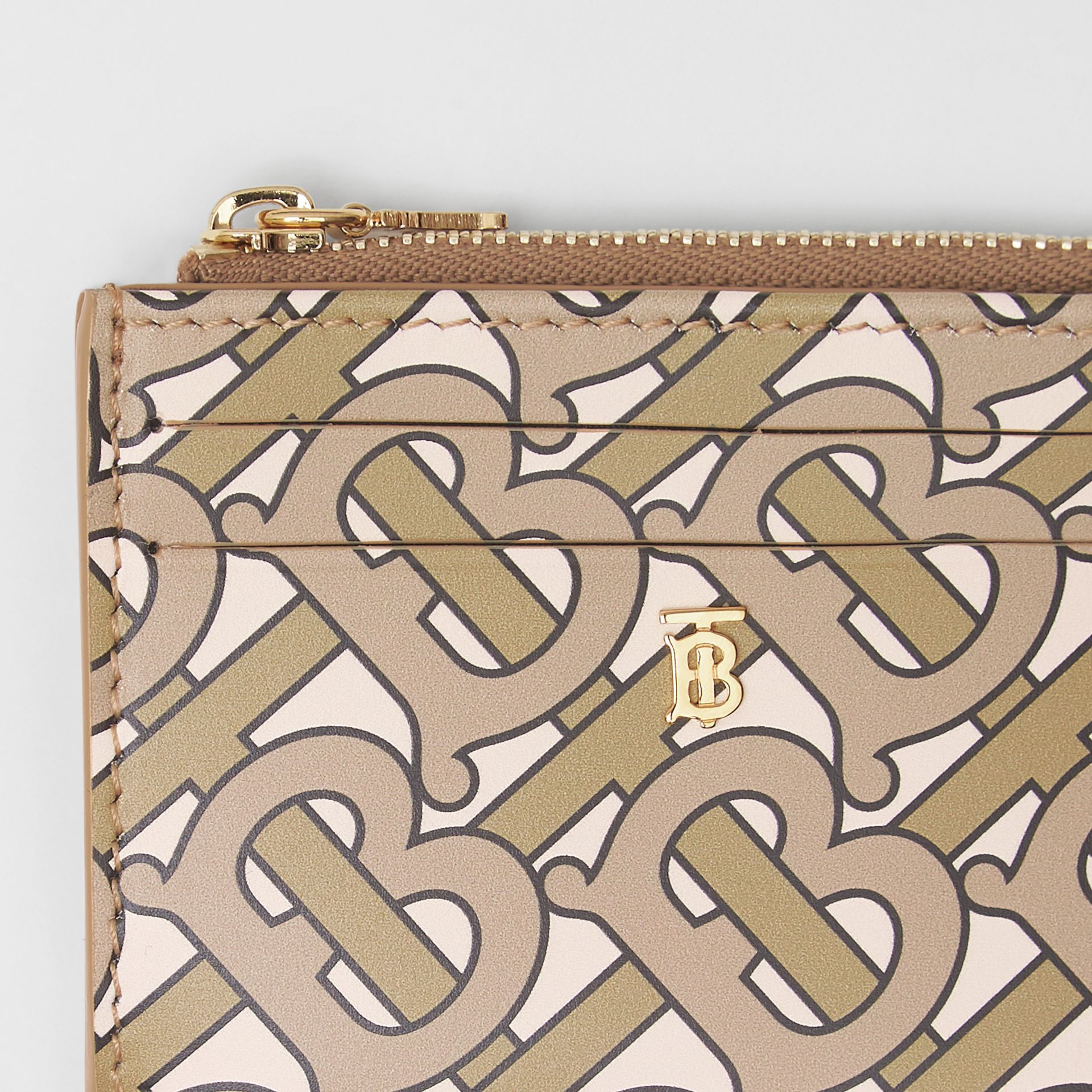 Monogram Print Leather Zip Card Case in Beige - Women | Burberry Singapore - gallery image 1