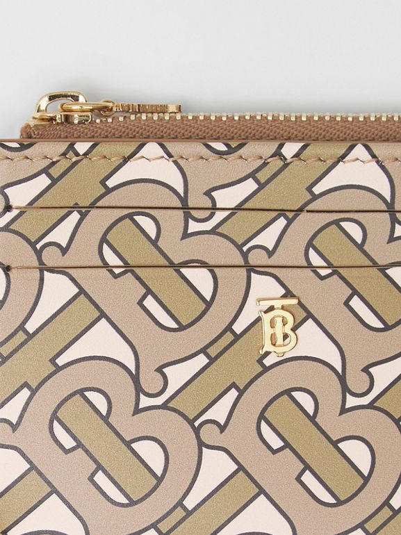 Monogram Print Leather Zip Card Case in Beige - Women | Burberry Singapore - cell image 1