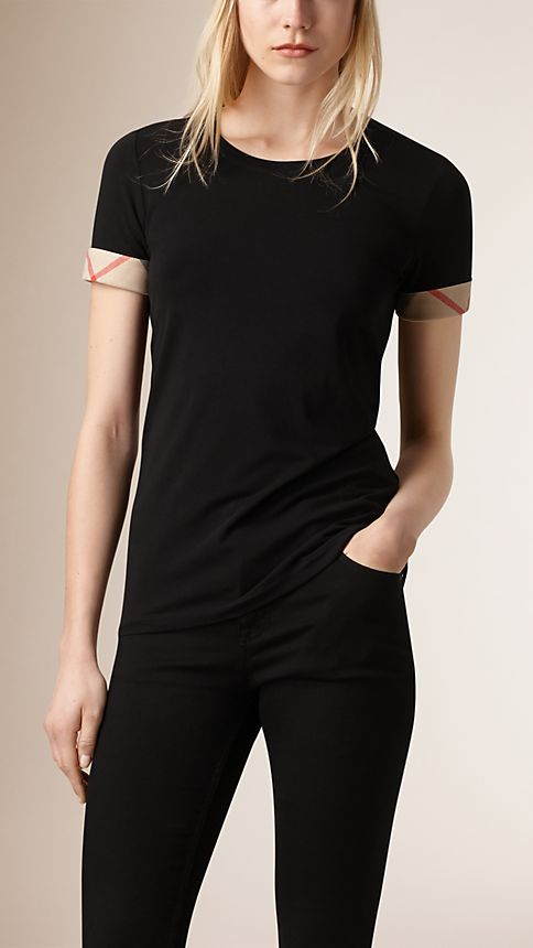 Black Check Cuff Stretch Cotton T-Shirt - Image 1