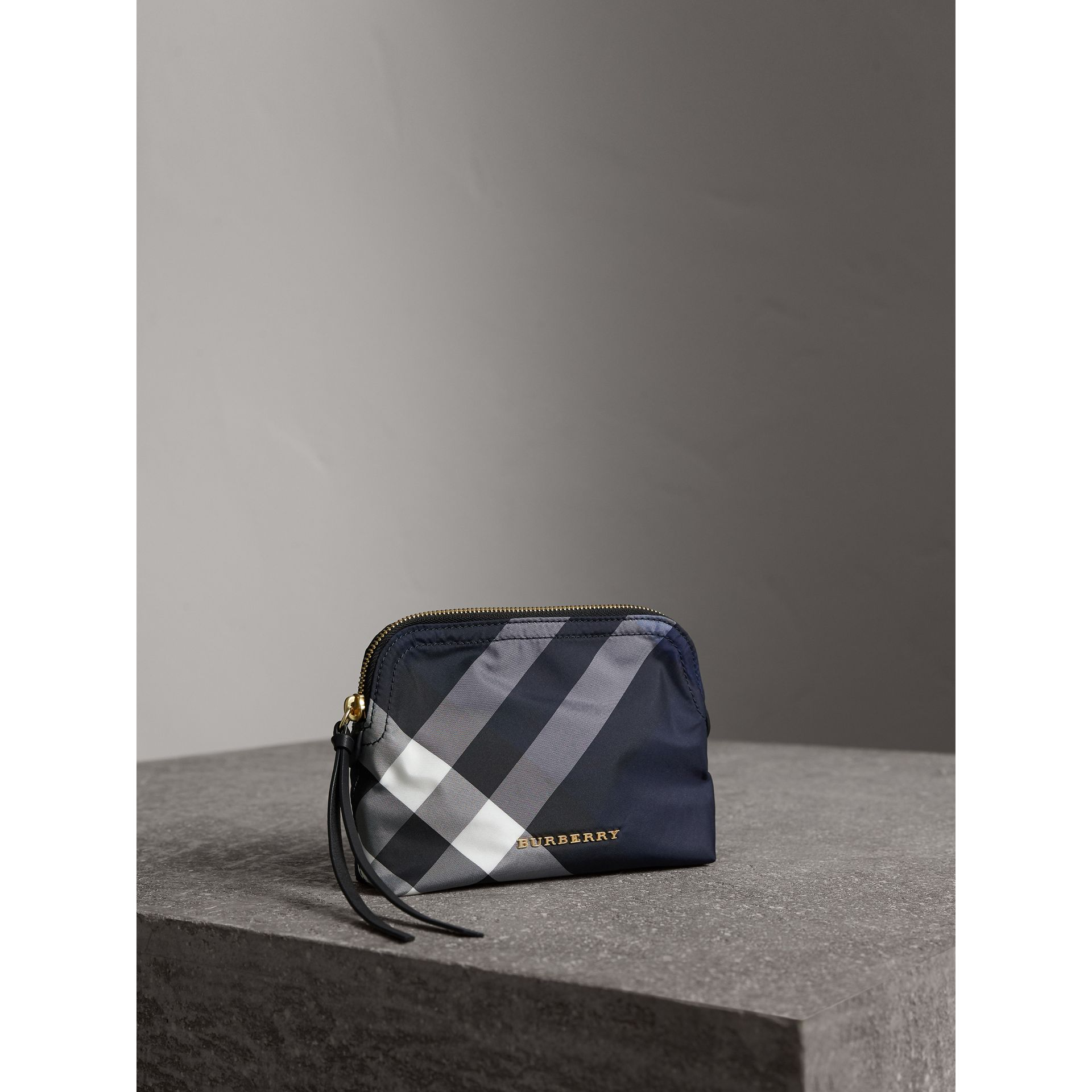 Medium Zip-top Check Technical Pouch in Indigo Blue - Women | Burberry - gallery image 5