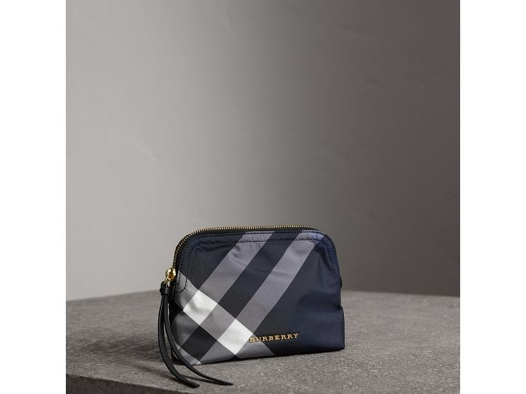 Medium Zip-top Check Technical Pouch in Indigo Blue - Women | Burberry Singapore - cell image 4