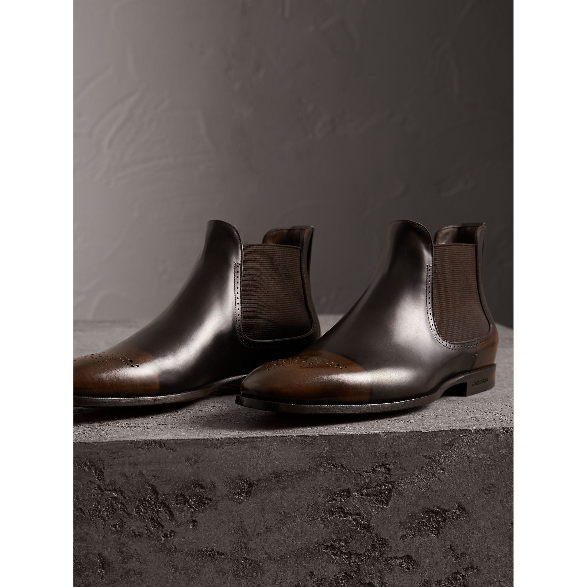 Perforated Detail Leather Chelsea Boots in Chocolate Brown - Men | Burberry Hong Kong - gallery image 4