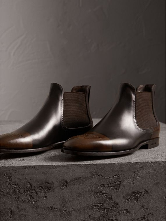 Perforated Detail Leather Chelsea Boots in Chocolate Brown - Men | Burberry Hong Kong - cell image 3