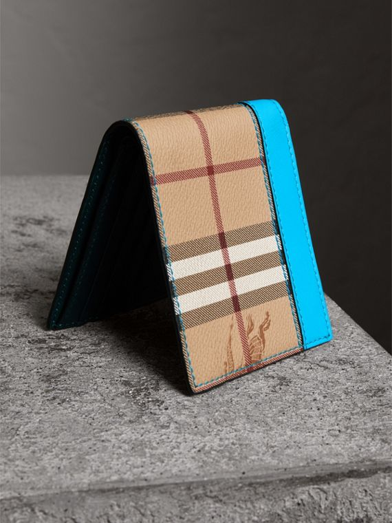 Haymarket Check International Bifold Wallet in Bright Blue - Men | Burberry Hong Kong - cell image 2