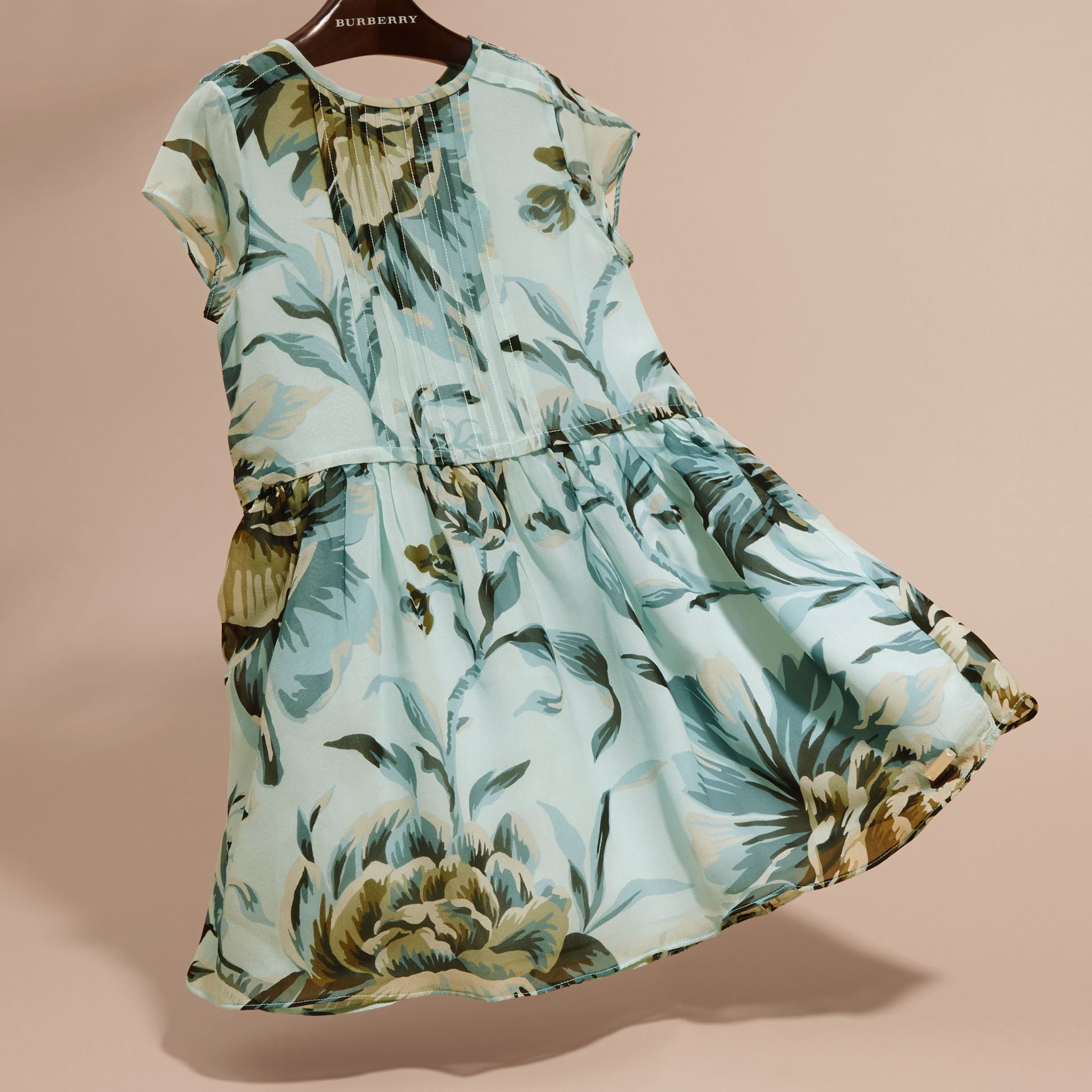 Peony Rose Print Silk Dress in Celadon Blue - gallery image 3