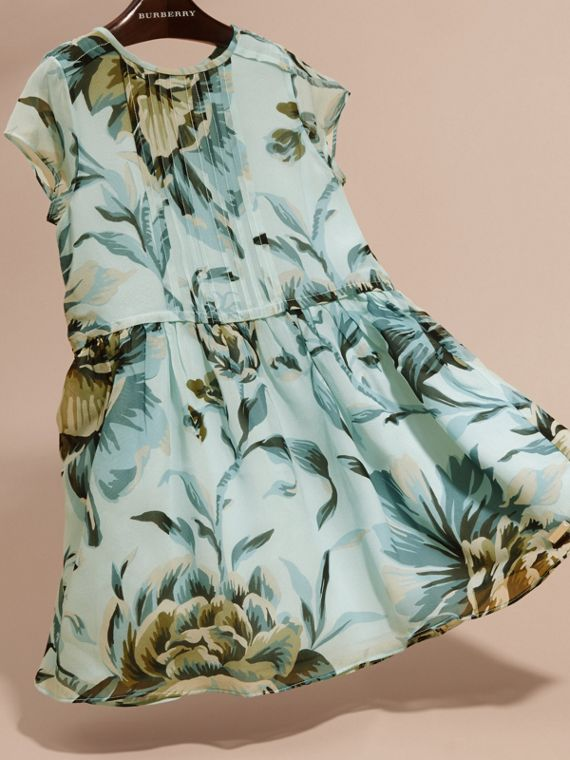 Peony Rose Print Silk Dress in Celadon Blue - cell image 2