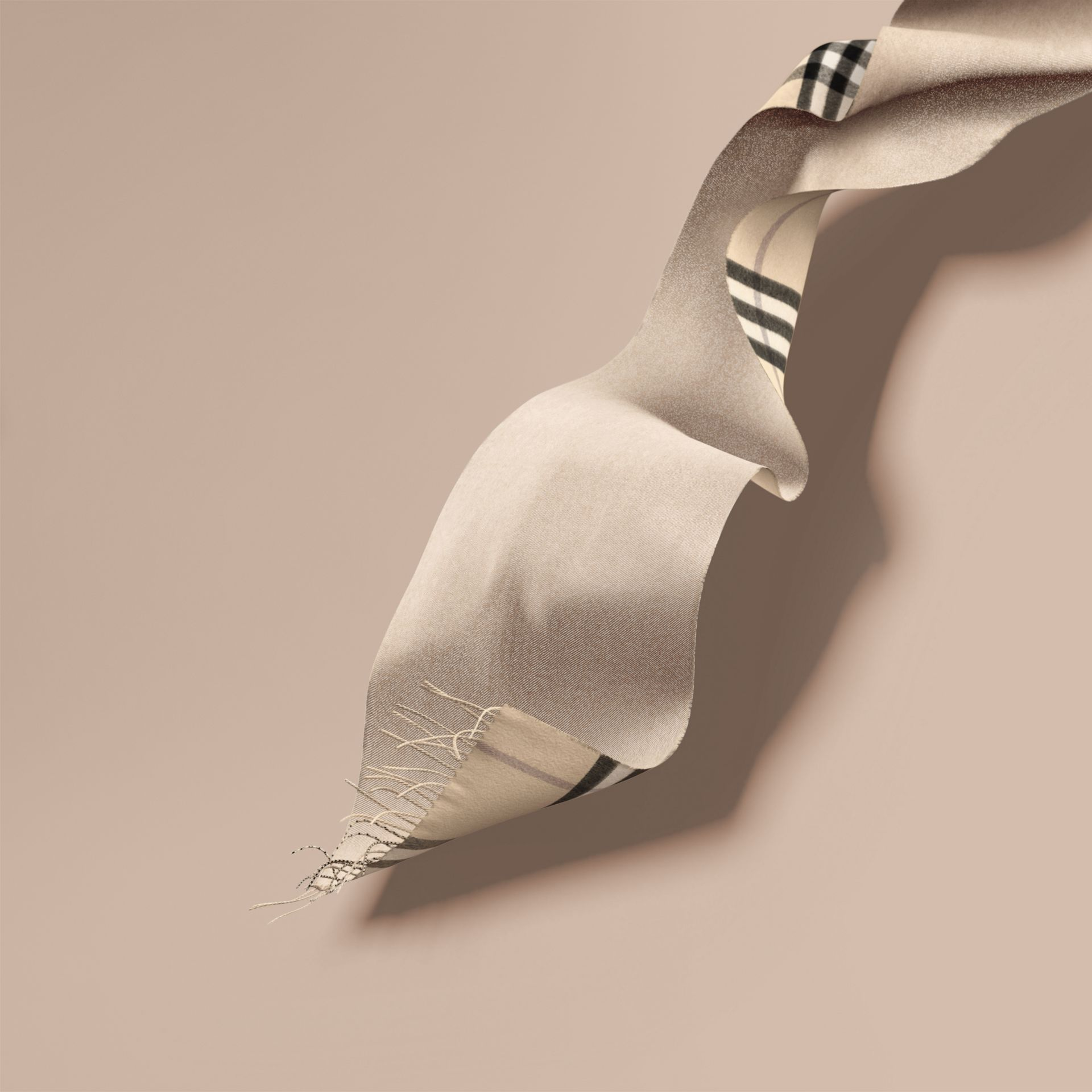 Reversible Metallic Check Cashmere Scarf in Natural White | Burberry - gallery image 7