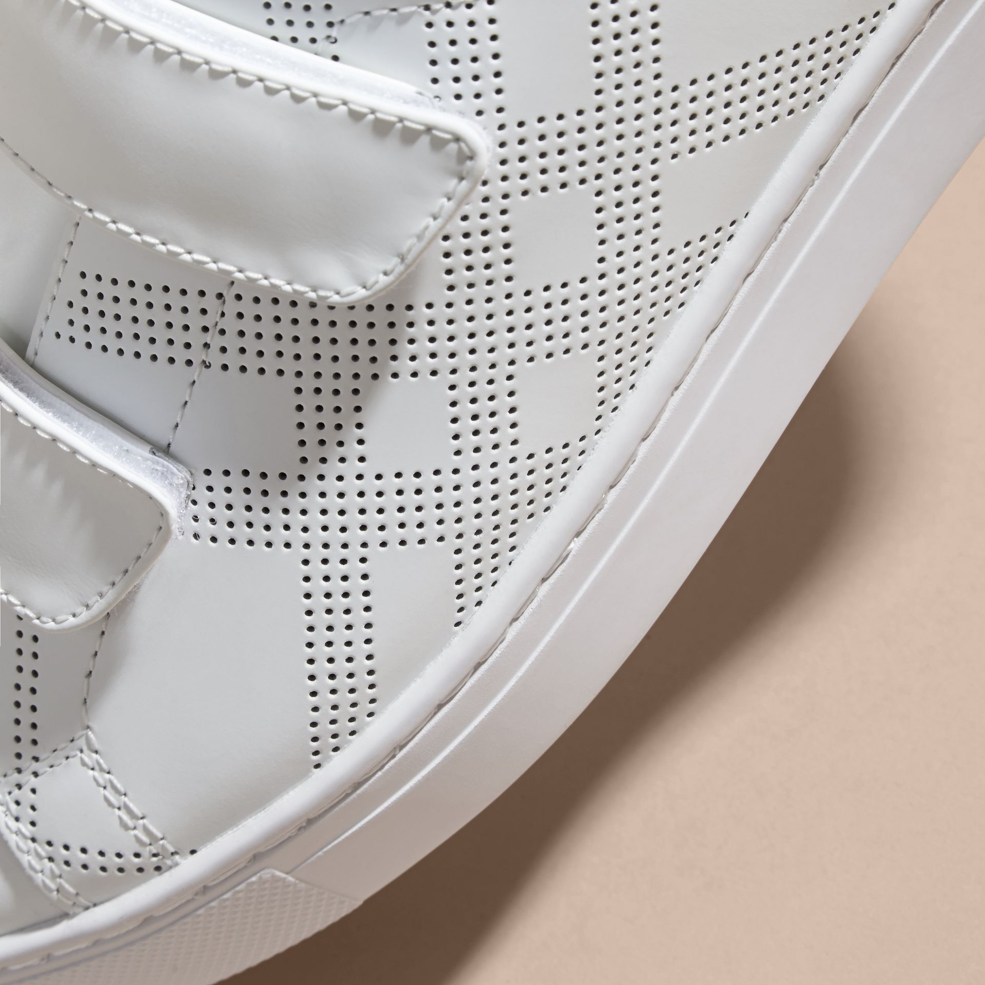 Optic white/deep claret melange Perforated Check Leather Trainers Optic White/deep Claret Melange - gallery image 2