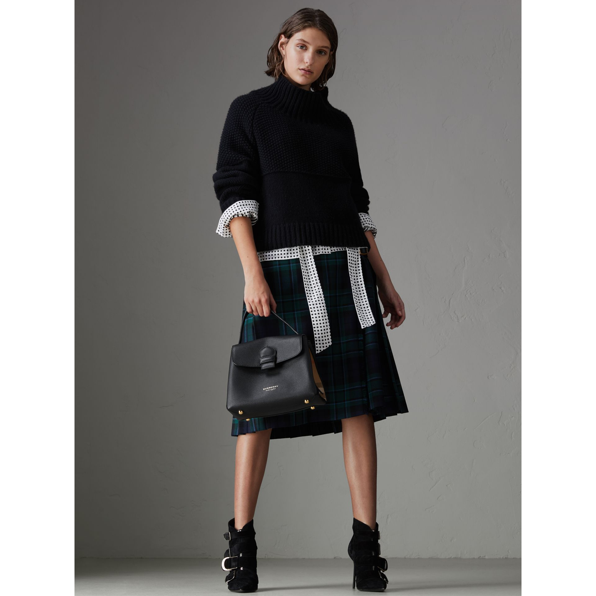 Small Grainy Leather and House Check Tote Bag in Black - Women | Burberry United States - gallery image 2