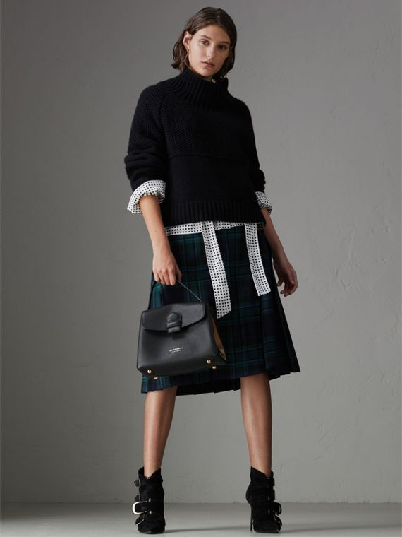 Small Grainy Leather and House Check Tote Bag in Black - Women | Burberry United States - cell image 2
