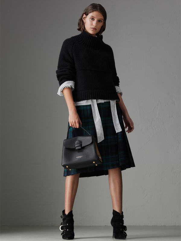 Small Grainy Leather and House Check Tote Bag in Black - Women | Burberry - cell image 2