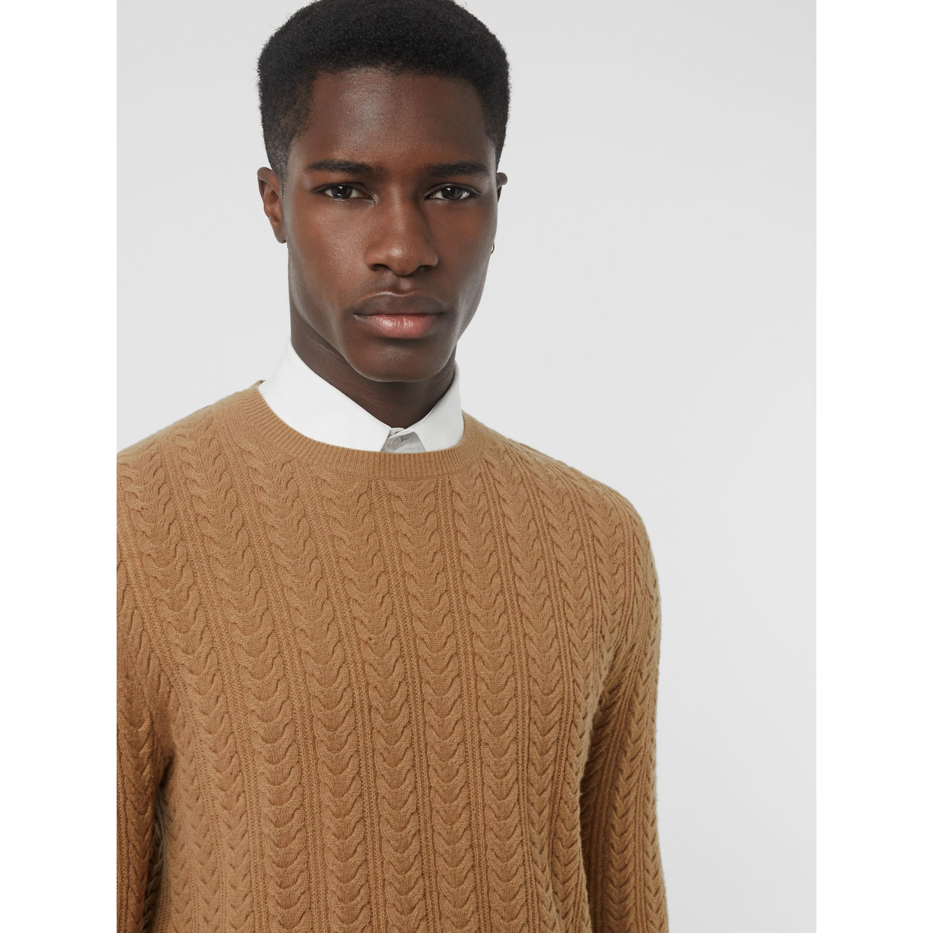 Cable Knit Cashmere Sweater in Camel - Men | Burberry United Kingdom - gallery image 1