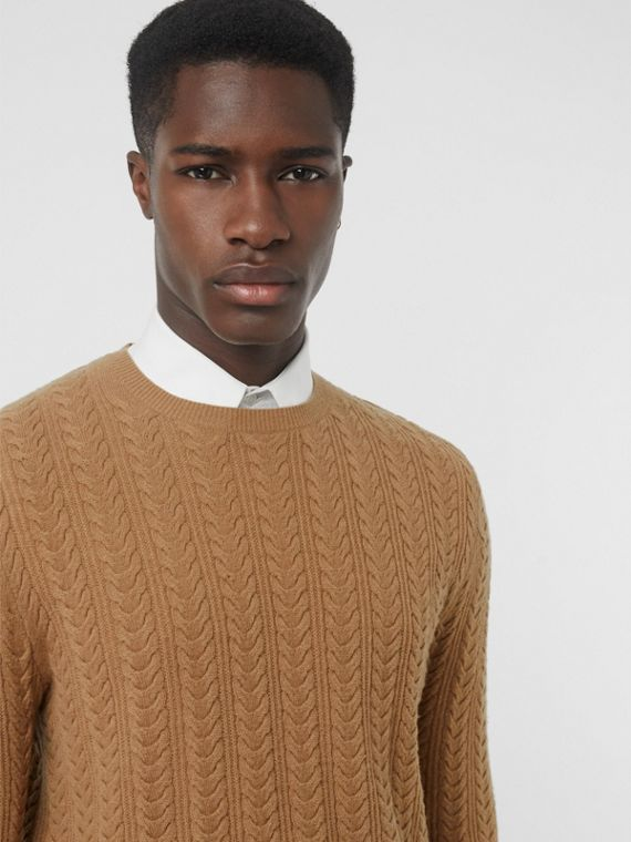 Cable Knit Cashmere Sweater in Camel