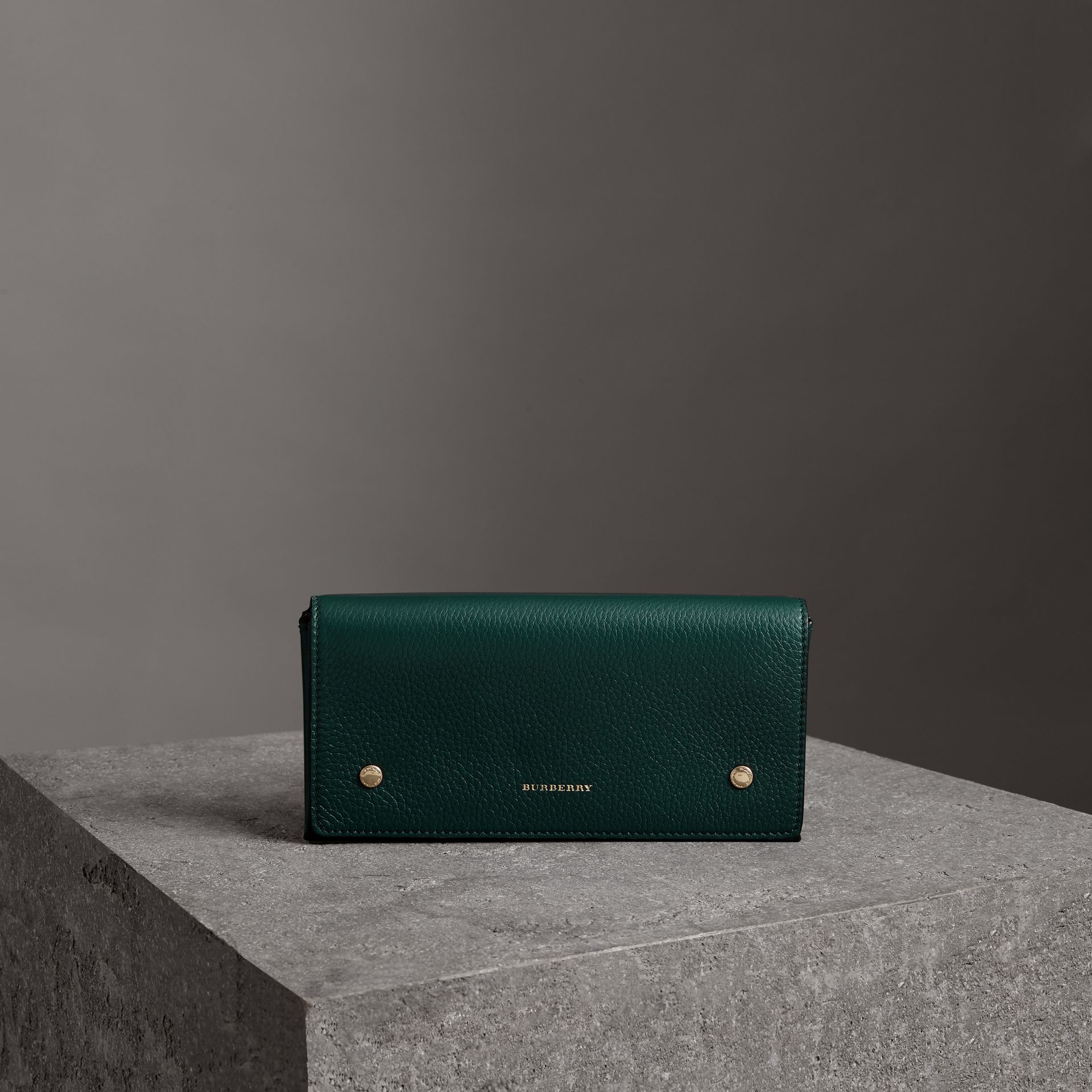 Two-tone Leather Continental Wallet in Dark Cyan - Women | Burberry Australia - gallery image 0