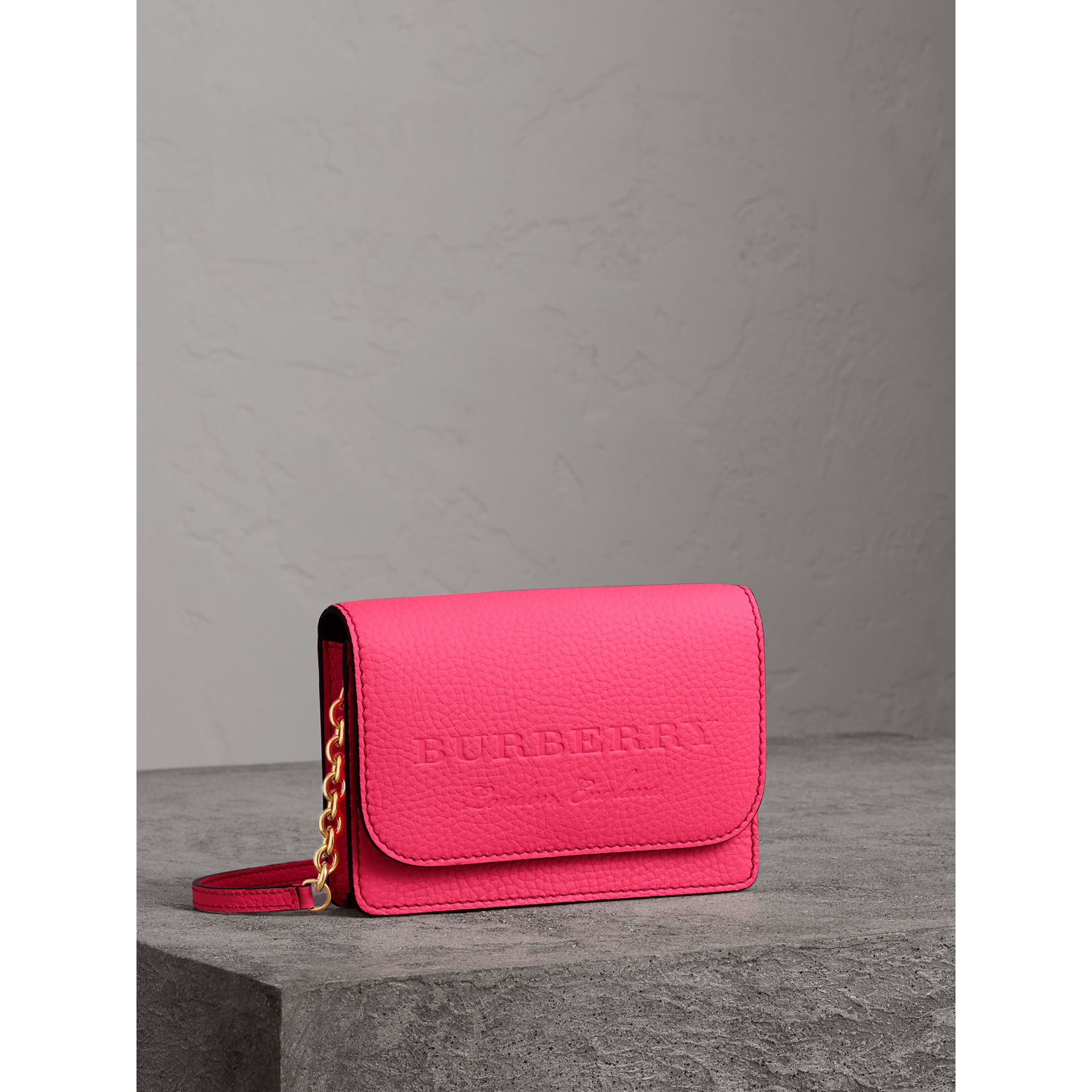 Embossed Leather Wallet with Detachable Strap in Bright Pink - Women | Burberry - gallery image 6
