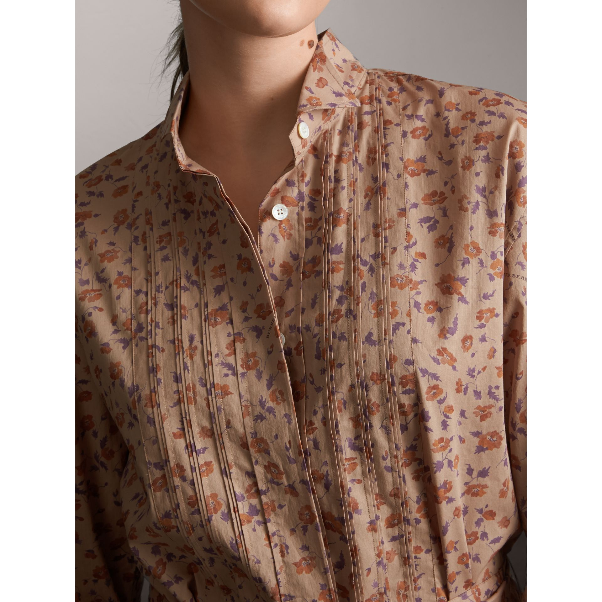 Tie-waist Floral Print Cotton Shirt Dress in Light Copper - Women | Burberry - gallery image 5