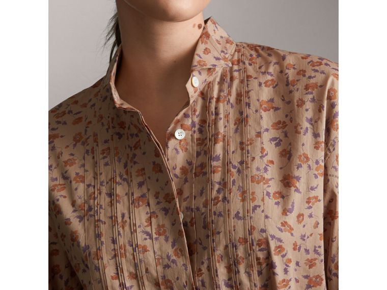 Tie-waist Floral Print Cotton Shirt Dress in Light Copper - Women | Burberry - cell image 4