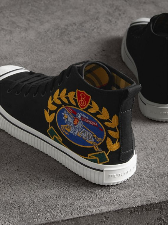 Archive Logo Cotton Gabardine High-top Sneakers in Black - Men | Burberry - cell image 3