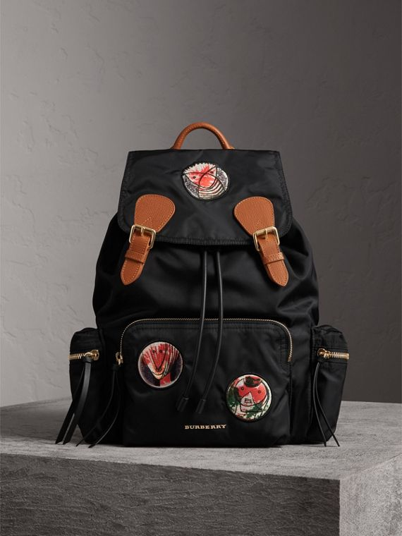 The Large Rucksack in Pallas Heads Appliqué in Black