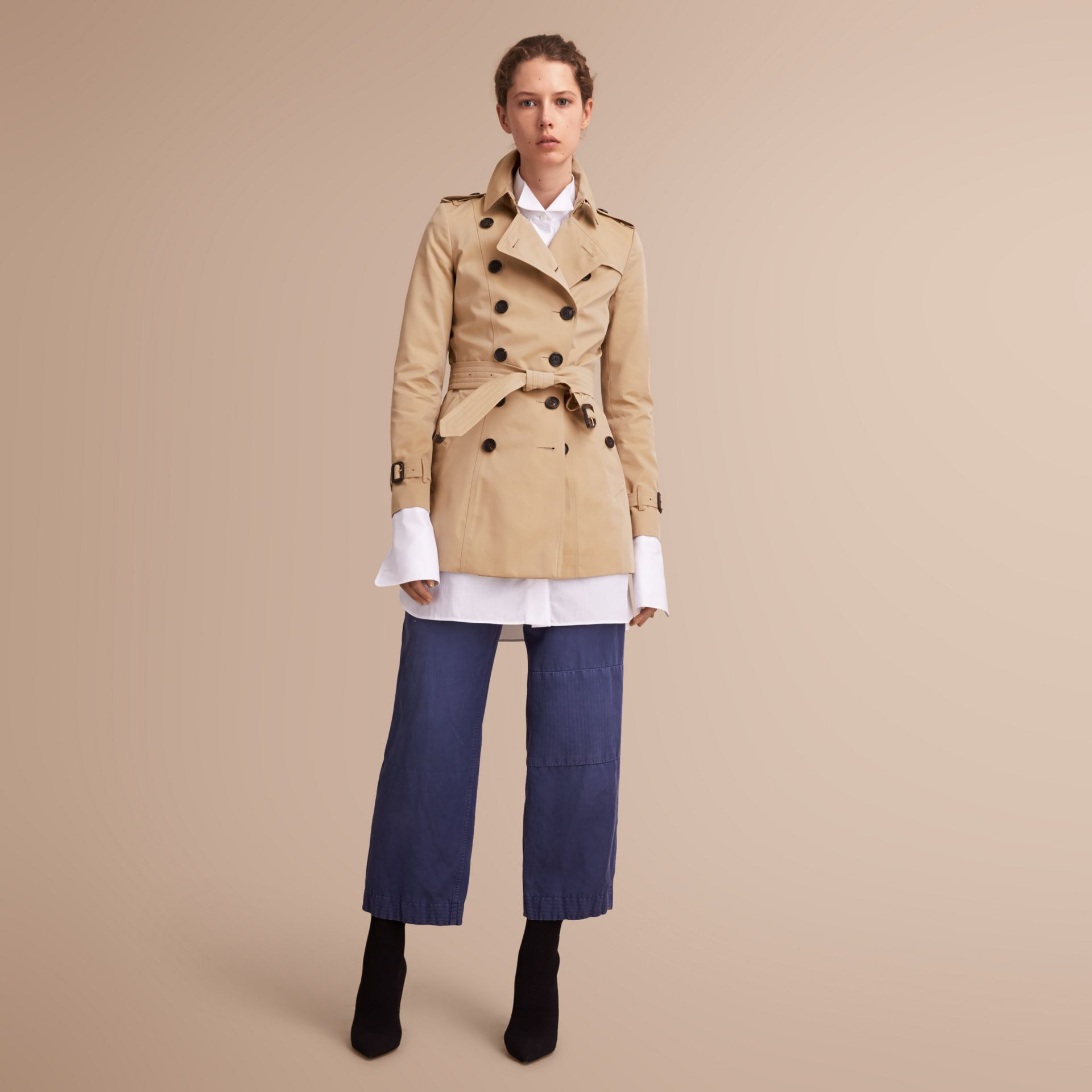 The Chelsea – Short Heritage Trench Coat in Honey - gallery image 1