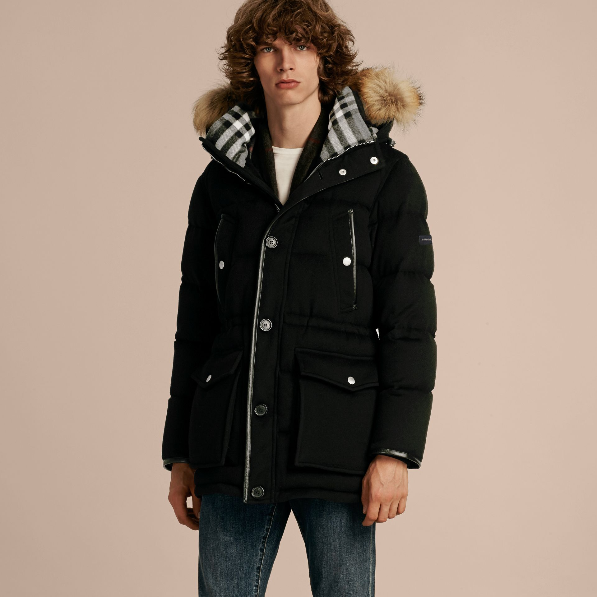 Down-filled Cashmere Parka with Detachable Fur Trim in Black - gallery image 6