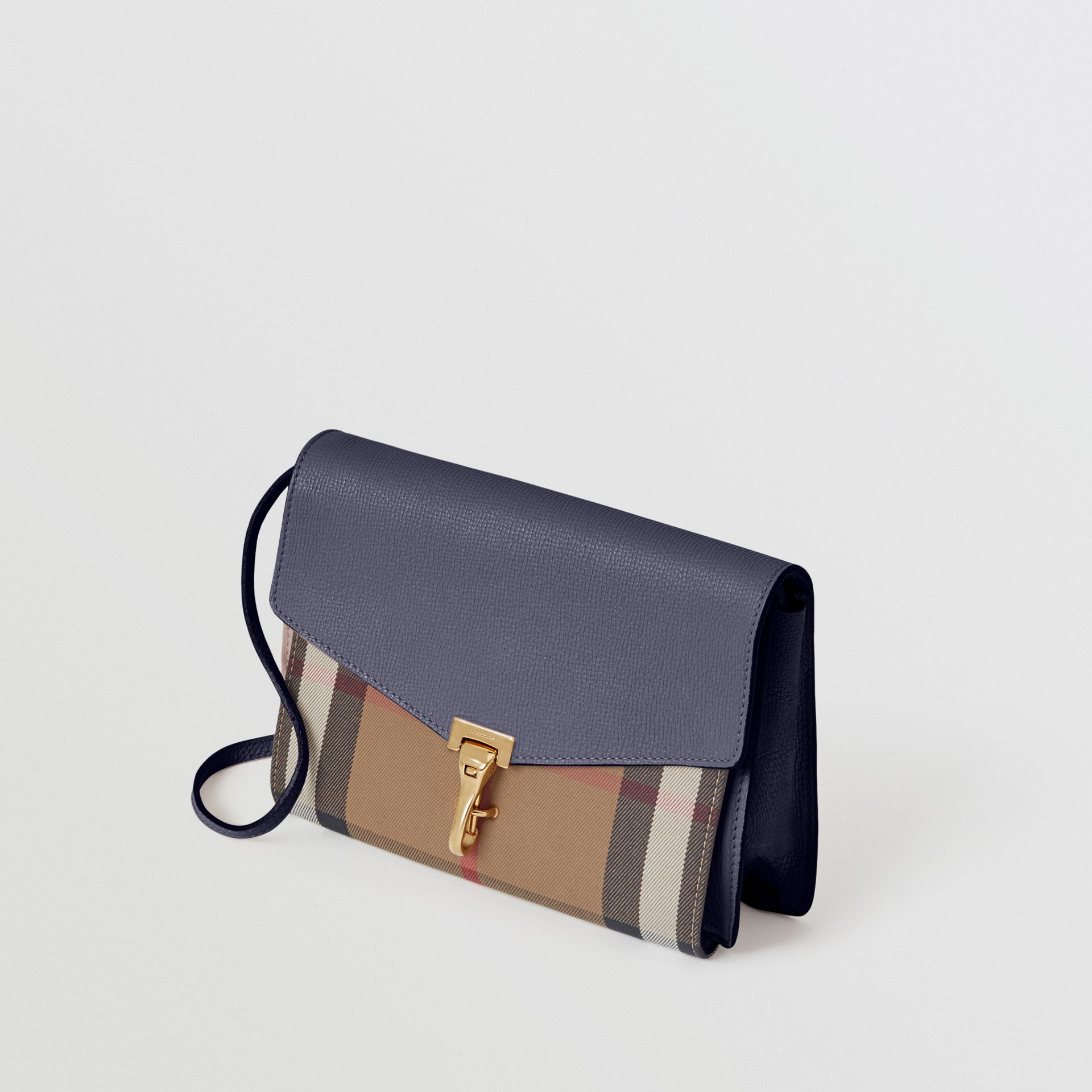 Small Leather and House Check Crossbody Bag in Ink Blue - Women | Burberry Singapore - gallery image 4
