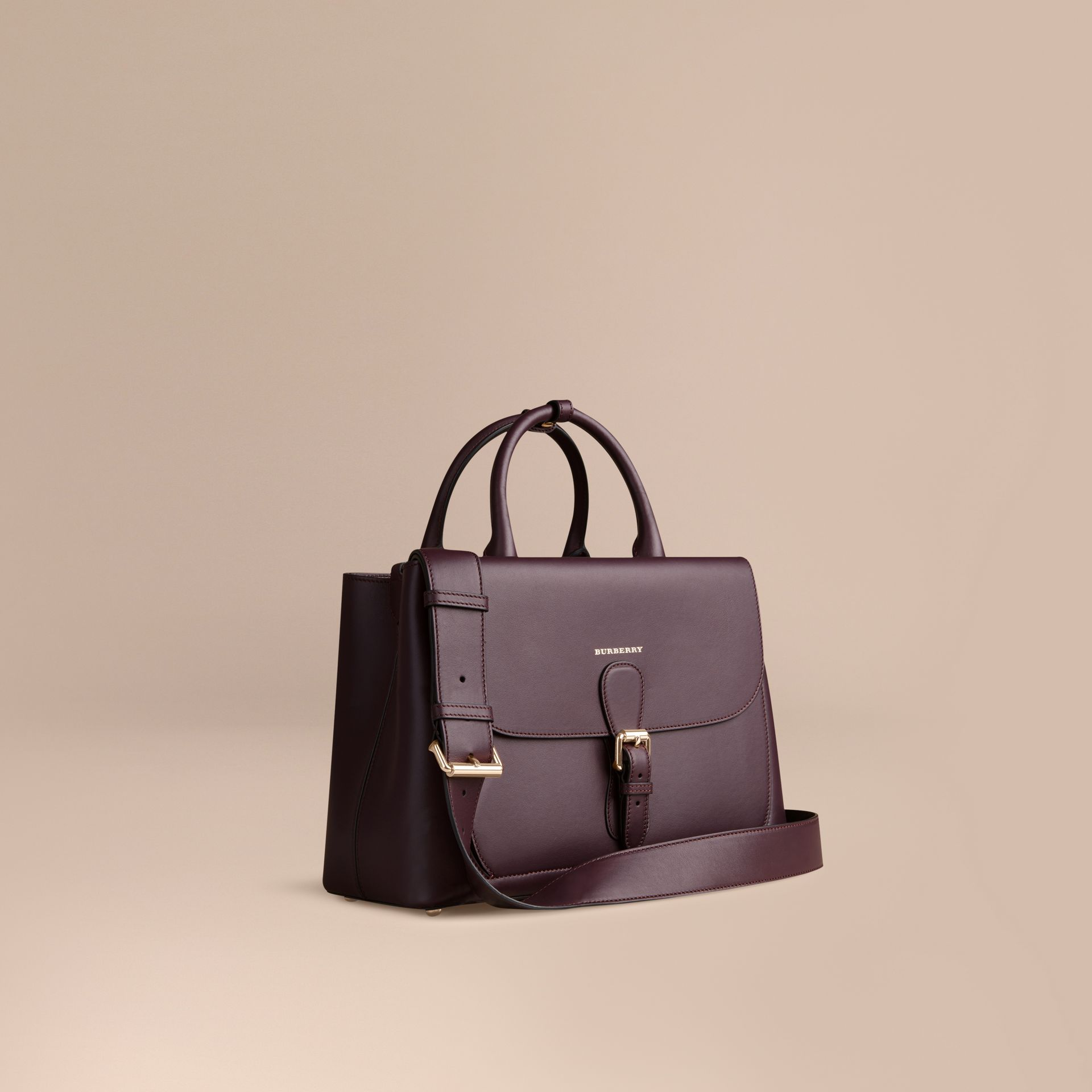 Dark amethyst The Medium Saddle Bag in Smooth Bonded Leather Dark Amethyst - gallery image 1