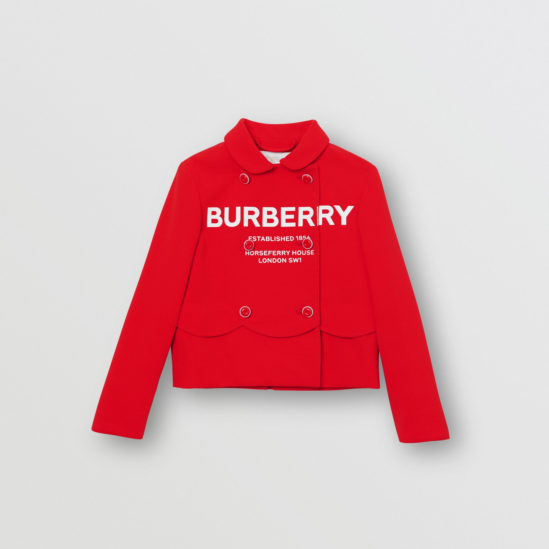 Logo Print Crepe Jersey Double-breasted Jacket in Bright Red - Girl | Burberry - gallery image 0