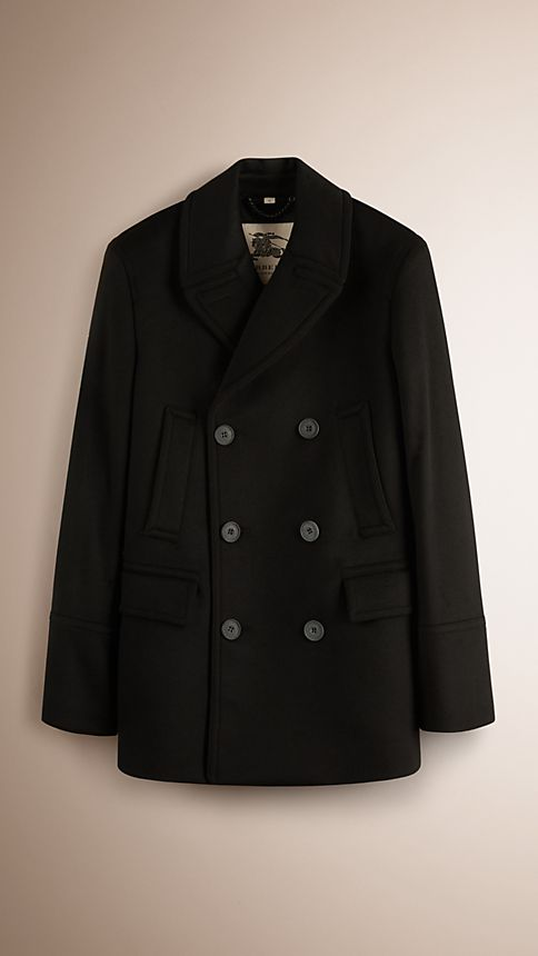 Black Virgin Wool Cashmere Pea Coat - Image 1