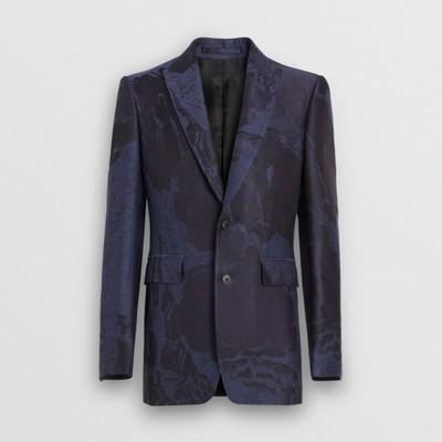 Imprimé Burberry De Avec Veste Mélangée Costume Homme Littoral Classique Laine Minuit En bleu qwFaH6F