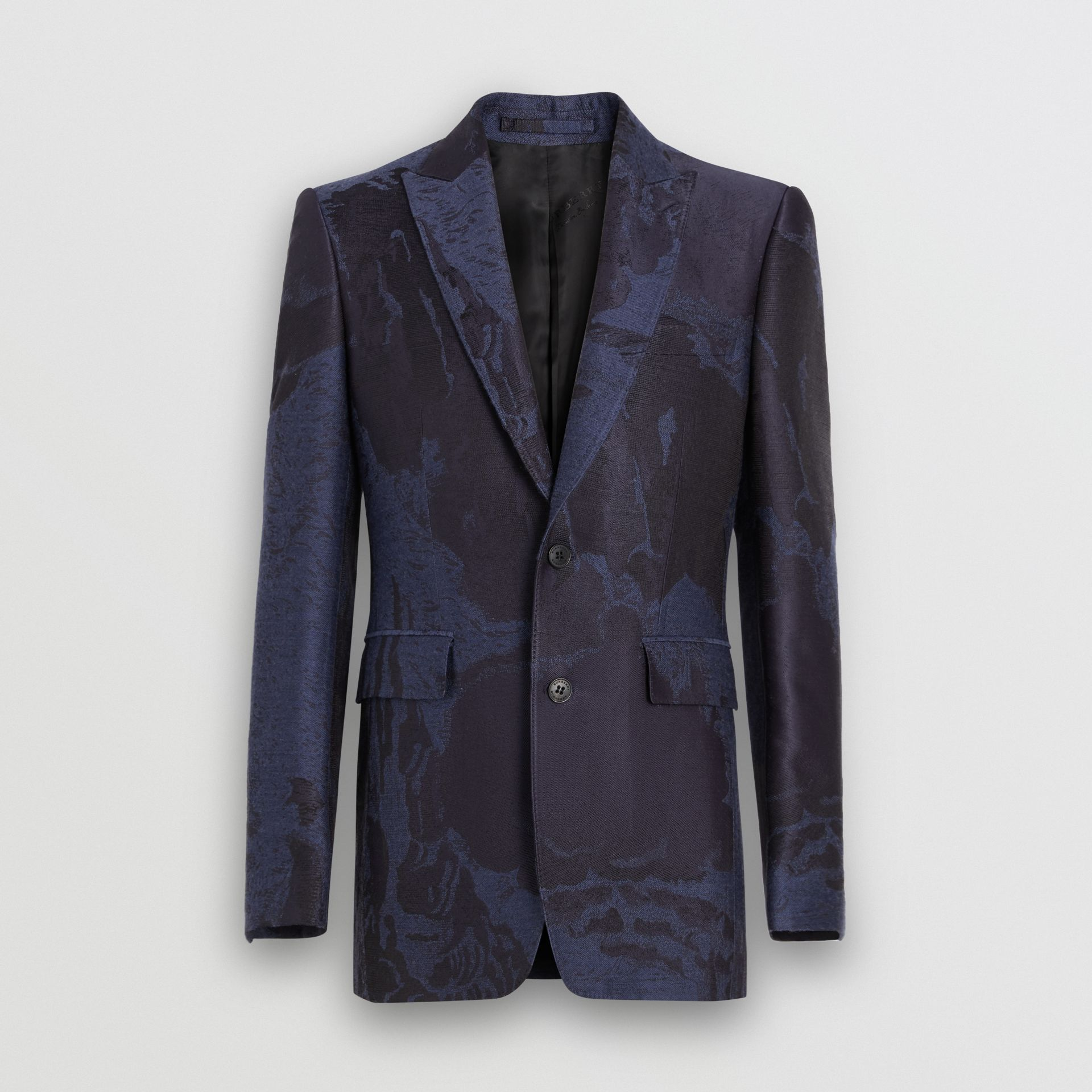 Classic Fit Dreamscape Wool Blend Tailored Jacket in Midnight Blue - Men | Burberry - gallery image 3