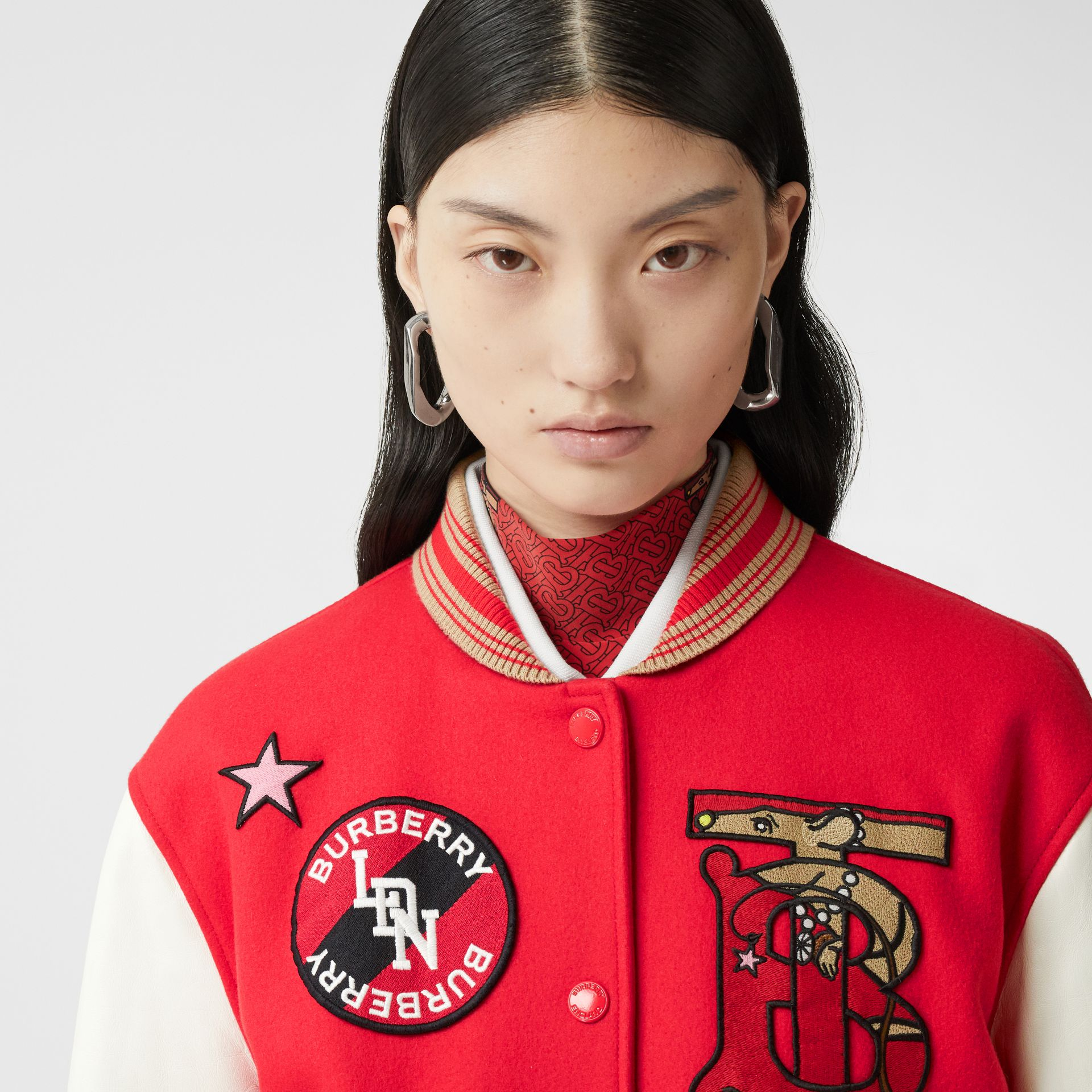 Contrast Sleeve Monogram Motif Wool Bomber Jacket in Bright Red - Women | Burberry - gallery image 1