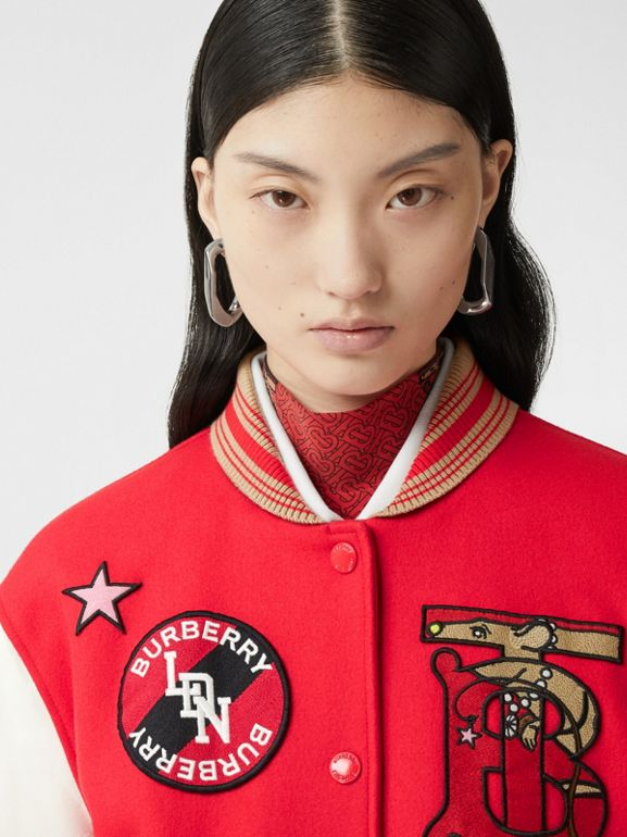 Contrast Sleeve Monogram Motif Wool Bomber Jacket in Bright Red - Women | Burberry - cell image 1