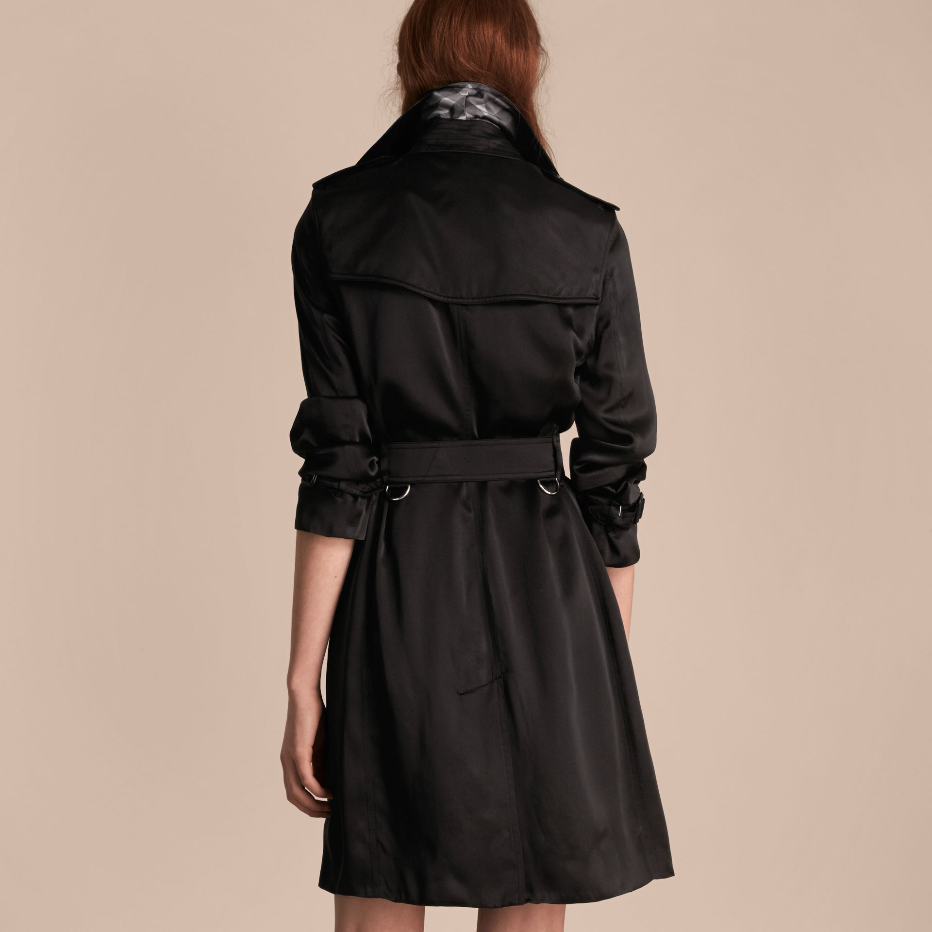Black Silk Trench Coat - gallery image 3