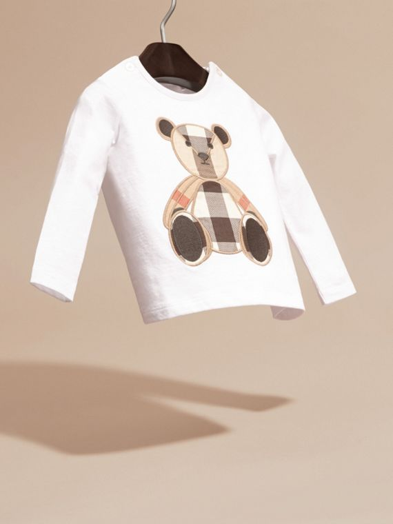 White Long-sleeved Teddy Bear Motif Cotton T-shirt - cell image 2