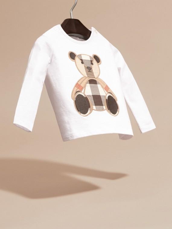 Blanc T-shirt en coton à manches longues avec motif Teddy-bear - cell image 2