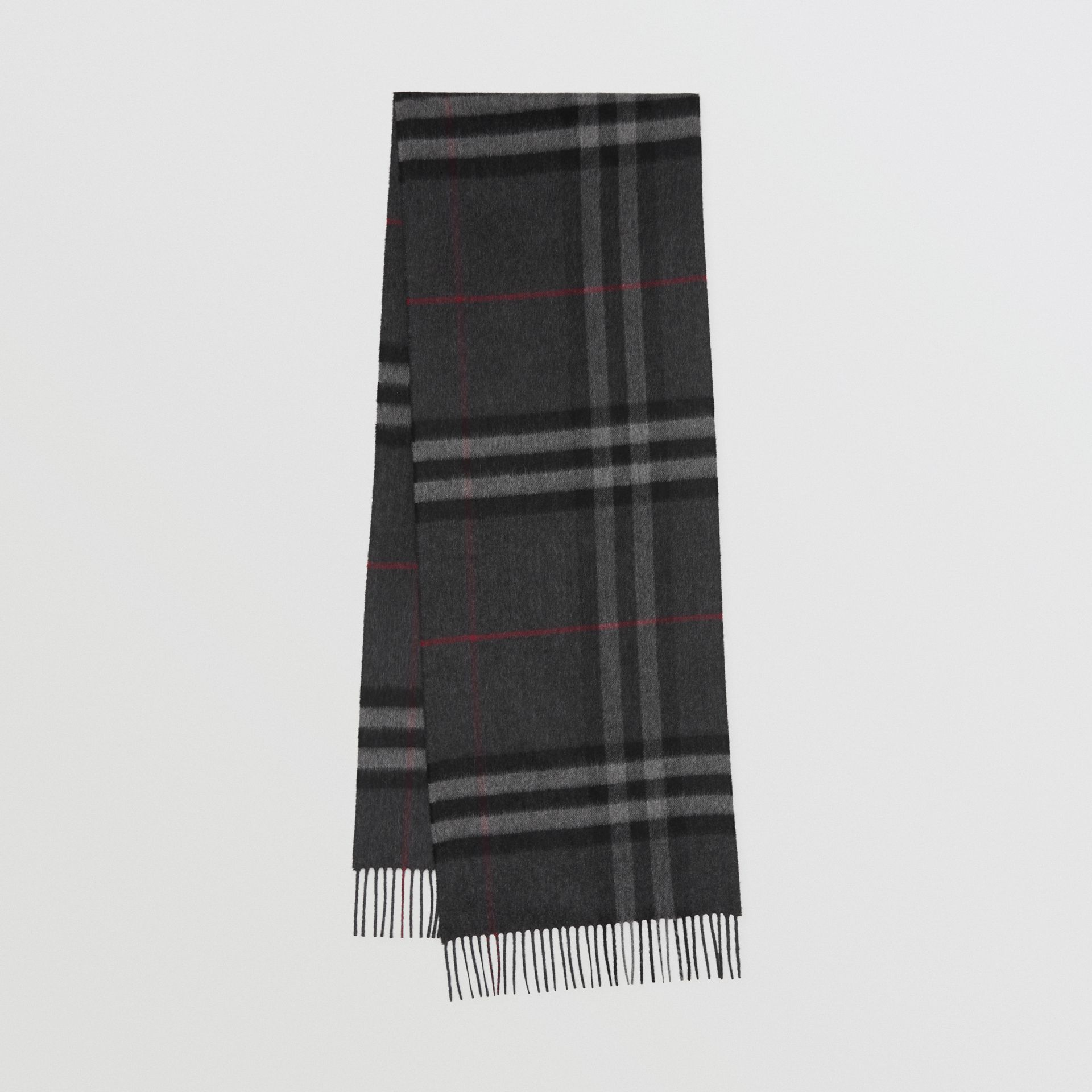 The Classic Check Cashmere Scarf in Charcoal | Burberry United Kingdom - gallery image 0