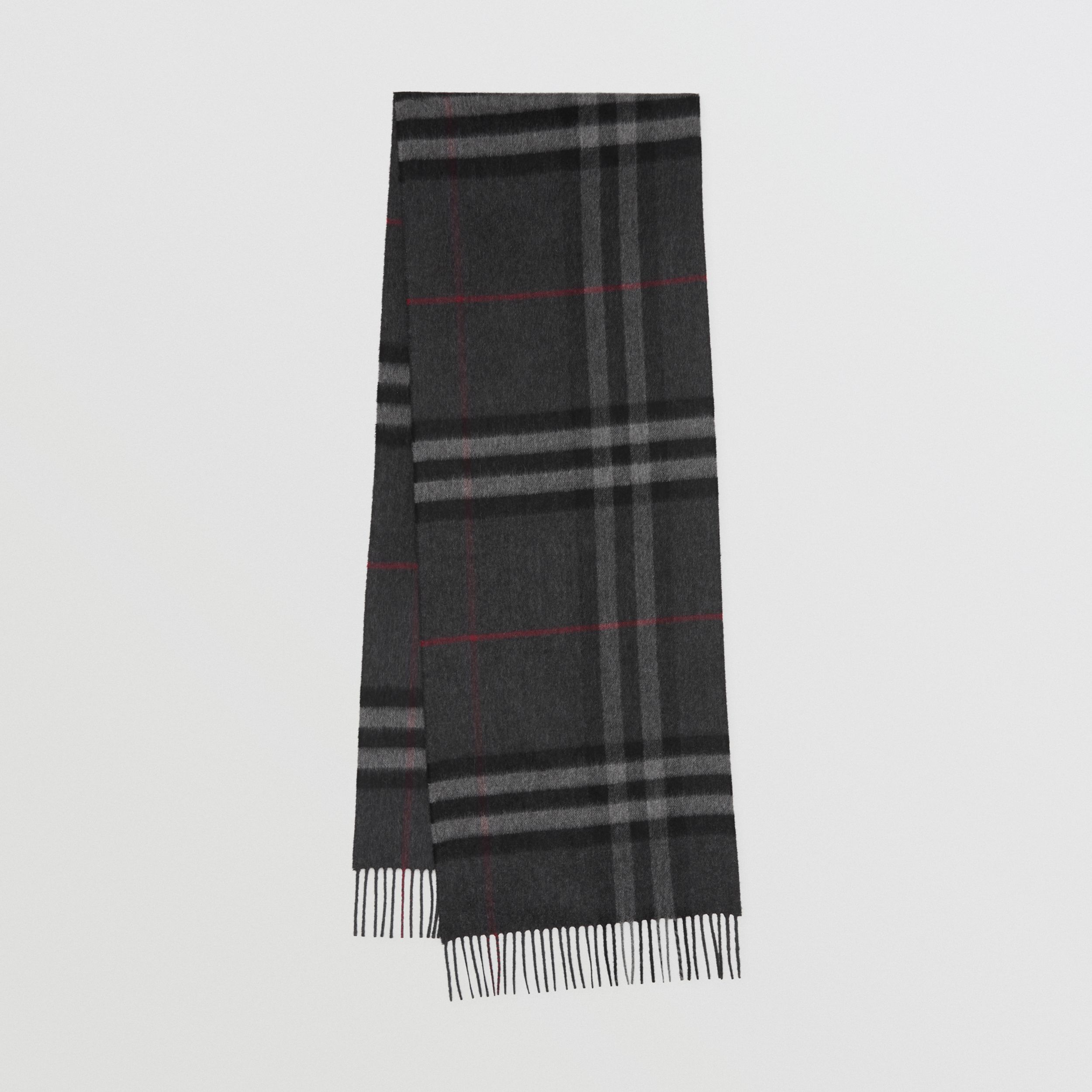 The Classic Check Cashmere Scarf in Charcoal | Burberry United Kingdom - 1