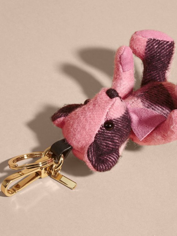 Thomas Bear Charm in Check Cashmere in Rose Pink - Women | Burberry - cell image 3