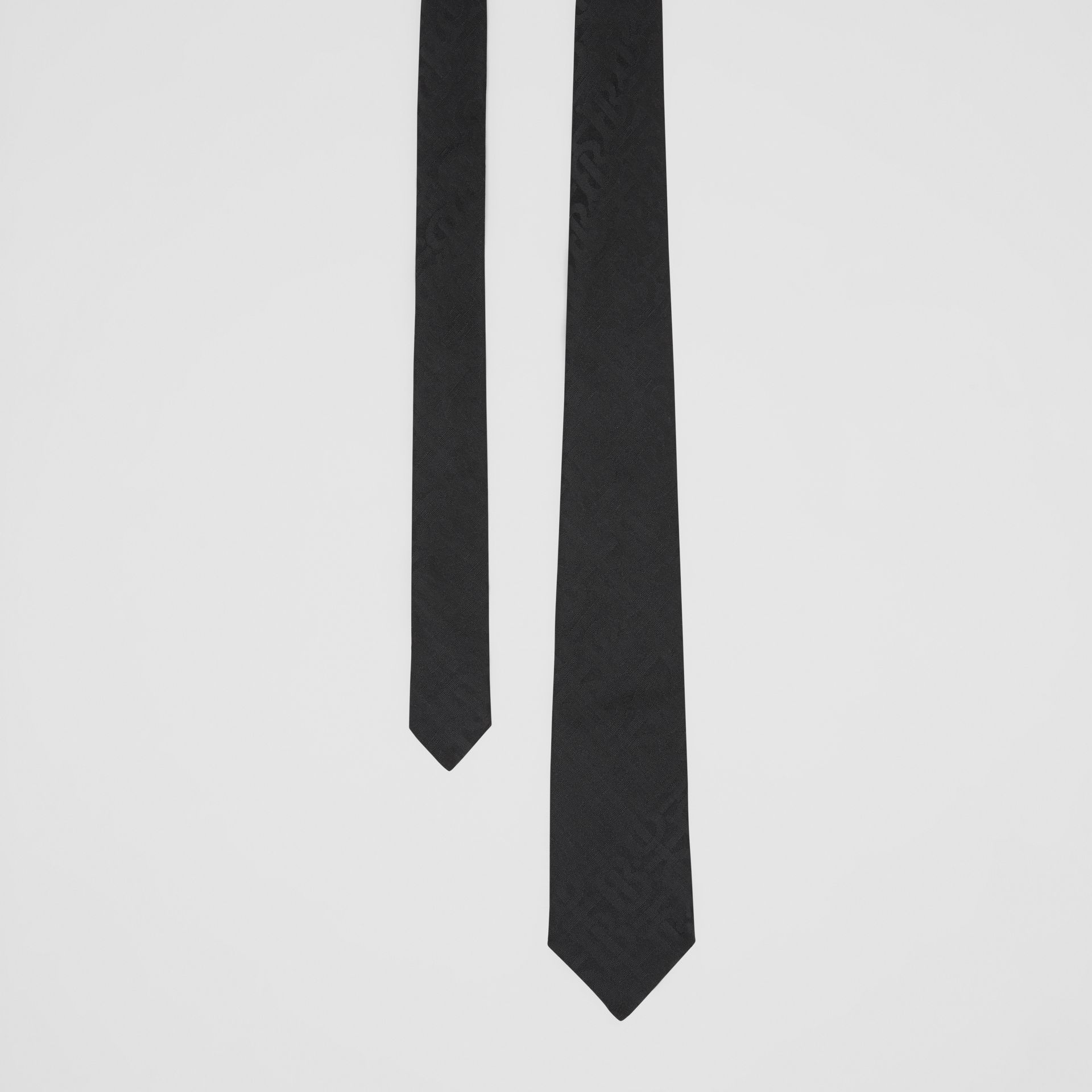 Classic Cut Monogram Silk Jacquard Tie in Black - Men | Burberry Australia - gallery image 0
