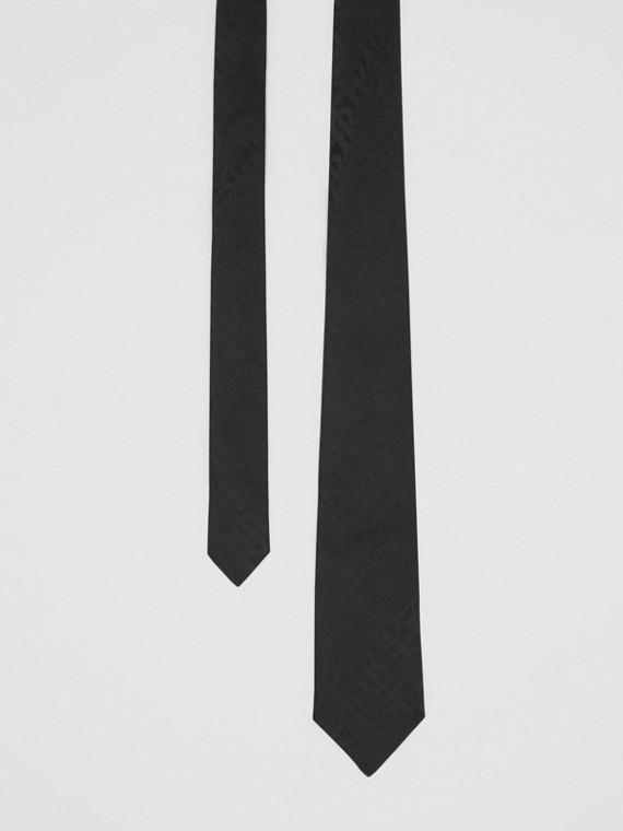 Cravatta dal taglio classico in jacquard di seta con motivo monogramma (Nero)