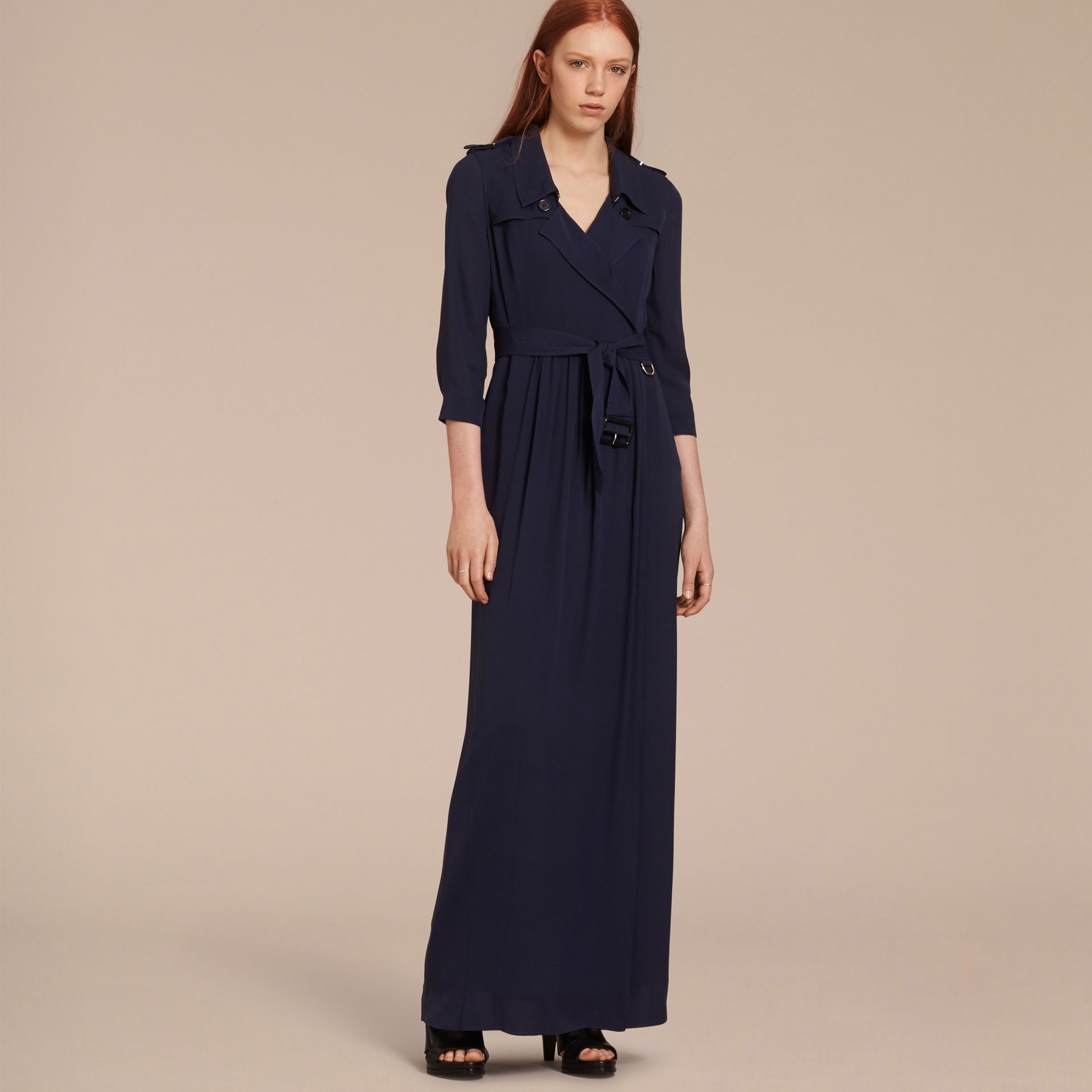 Silk Trench Dress in Navy - gallery image 7